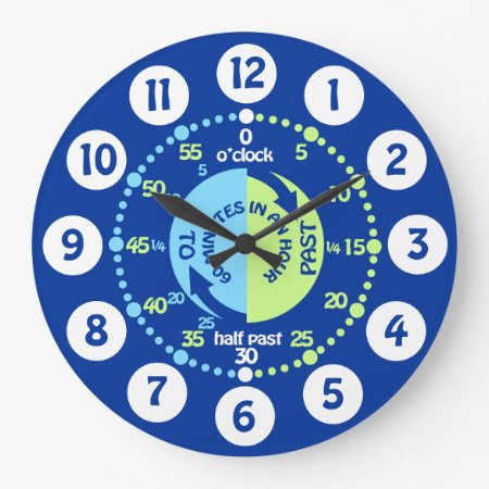 Boys Learn To Tell Time Blue Green Wall Clock