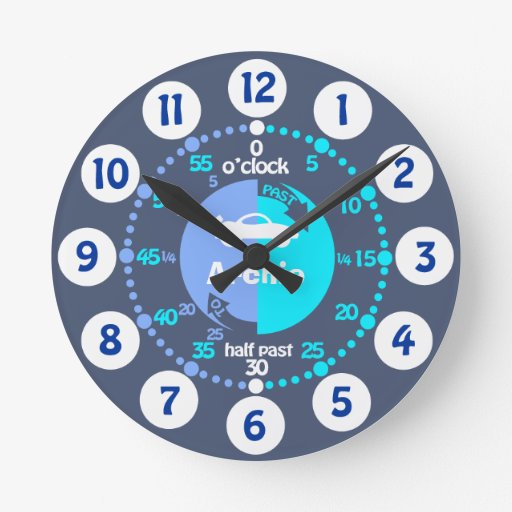 Boys learn to tell time blue grey named car clock