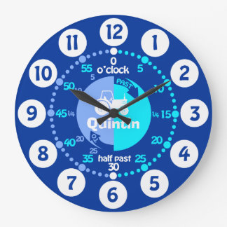 Boys learn to tell time blue name tractor clock