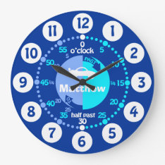 Boys Learn To Tell Time Blue Named Car Clock at Zazzle