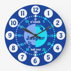 Boys Learn To Tell Time Blue Named Clock at Zazzle