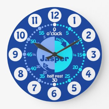 Boys Learn To Tell Time Blue Named Clock by Mylittleeden at Zazzle