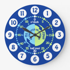 Boys learn to tell time blue wall clock