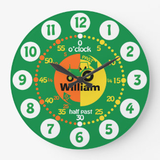 Boys learn to tell time green yellow tractor clock