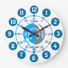 Boys learn to tell time muted blue grey wall clock at Zazzle