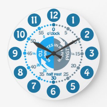 Boys Learn To Tell Time Muted Blue Grey Wall Clock by Mylittleeden at Zazzle