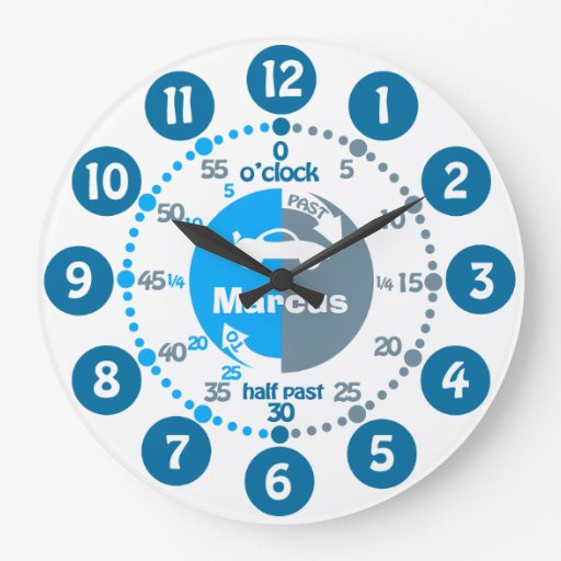 Boys learn to tell time muted blue named car clock