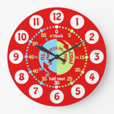Boys Learn To Tell Time Red Wall Clock at Zazzle