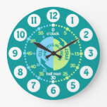 Boys learn to tell time teal wall clock