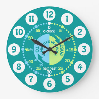 Boys learn to tell time teal wall clock wall clock