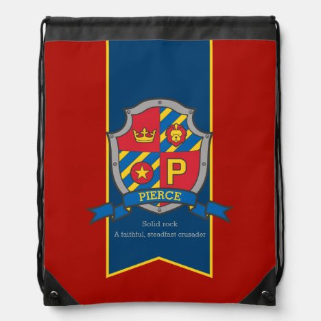 Boys letter P name meaning Pierce lion knights Drawstring Bag