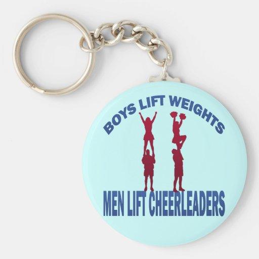 BOYS LIFT WEIGHTS MEN LIFT CHEERLEADERS KEY CHAINS