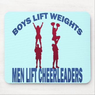 BOYS LIFT WEIGHTS MEN LIFT CHEERLEADERS MOUSE PAD