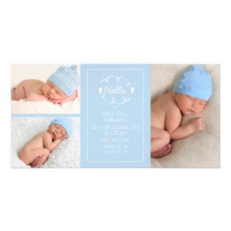 Boys Light Blue Birth Announcement Photocard