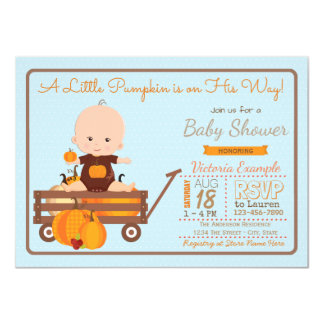 Boys Little Pumpkin Baby Shower Invitation