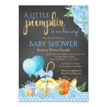 Boys Little Pumpkin Chalkboard Fall Baby Shower Card