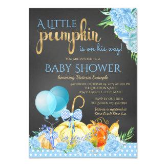 Boys Little Pumpkin Chalkboard Fall Baby Shower Card