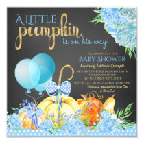 Boys Little Pumpkin Rustic Chalkboard Baby Shower Card