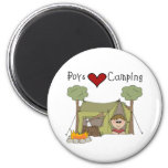 Boys Love Camping 2 Inch Round Magnet