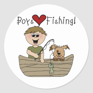 Boys Love Fishing Classic Round Sticker
