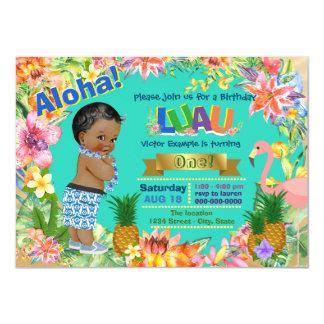 Boys Luau Birthday Party African American Luau Card