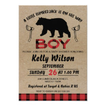 boy's Lumberjack Baby Shower Invitation