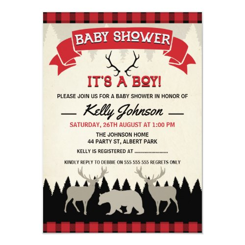 Boys Lumberjack Baby Shower Invitation