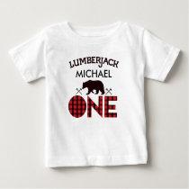 Boys Lumberjack Bear Arrows 1st Birthday T-shirt