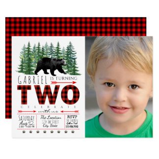 Boys Lumberjack Bear Photo 2nd Birthday Invitation