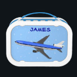 """Boys Lunch Boxes With Airplane<br><div class=""""desc"""">Boys lunch boxes with airplane,  blue background and customizable text.</div>"""