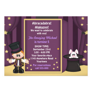 Boys Magic Show Birthday Personalized Invite