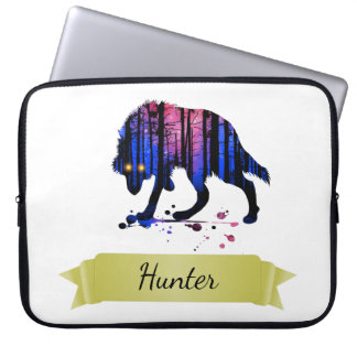 Boys Mens Personalized Trendy Wolf Woods Galaxy Computer Sleeve