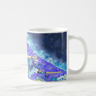 Boy's Messy Bedroom, blue themed family humour art Coffee Mug
