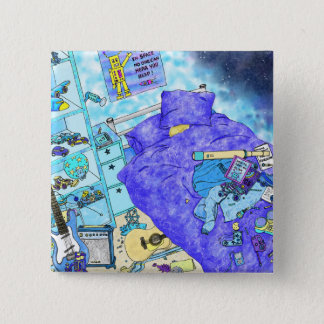 Boy's Messy Bedroom, blue themed family humour art Pinback Button