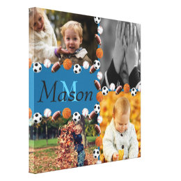 Boys Monogram Photo Sports Collage Canvas Print