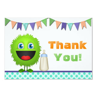 Boys Monster Baby Shower Thank You Card (flat)
