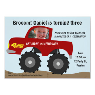Boys Monster Truck Birthday Party Invitation
