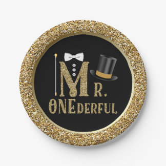 Boys Mr ONEderful First Birthday Paper Plates