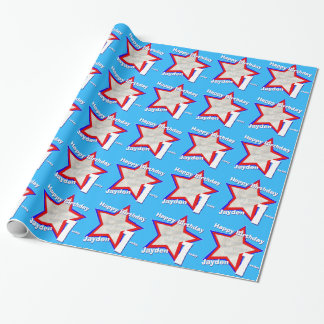 Boys name age 1 add your photo star pattern wrapping paper