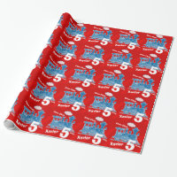 Boys name age train loco red blue birthday wrapping paper