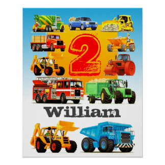 Boy's Name and Age 2nd Birthday Construction Truck Poster