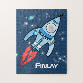 Boys name and photo rocket space kids jigsaw jigsaw puzzle