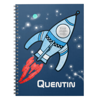 Boys name and photo rocket space kids journal
