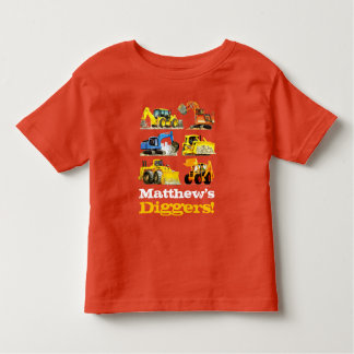 Boys Name Giant Construction Diggers Excavators Toddler T-shirt