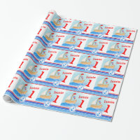 Boys name painted sail boat 1st birthday wrap wrapping paper