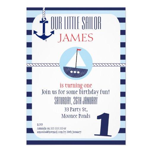 Personalized Nautical 1st birthday Invitations CustomInvitations4Ucom