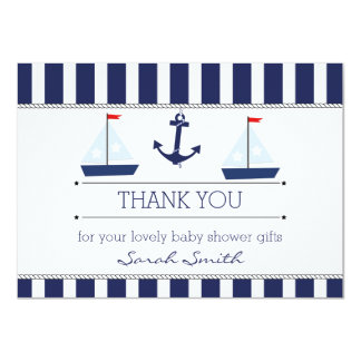Boys Nautical Baby Shower Flat Thank You Card