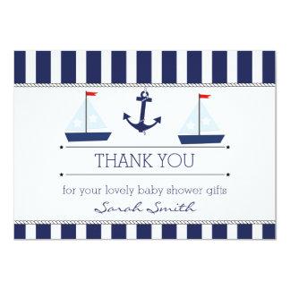 Boys Nautical Baby Shower Flat Thank You Card