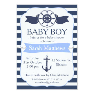 Boys Nautical Baby Shower Invitation