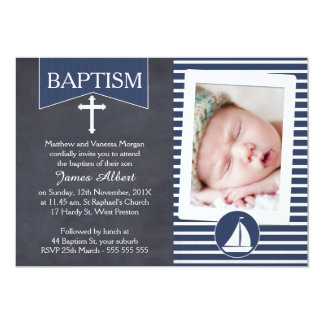 Boys Nautical Baptism Christening Invitation